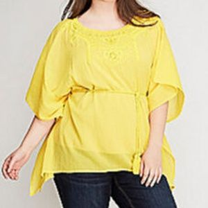 Lane Bryant Embroidered Gauze Blouse Tunic 26/28